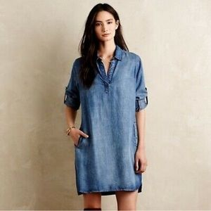 Anthro Cloth & Stone Tunic Shirt Dress In Chambray